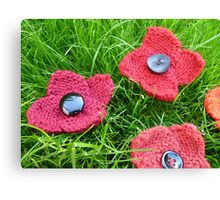 Hand Knitted Poppies Canvas Print