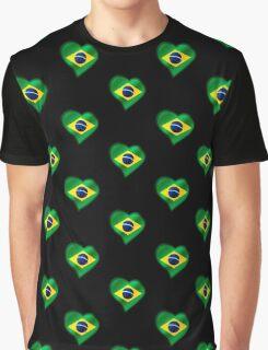 Brazilian Flag - Brazil - Heart Graphic T-Shirt