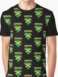 Jamaica - Jamaican Flag Heart & Text - Metallic Graphic T-Shirt