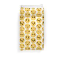 Yellow Smirky Face Emoji Duvet Cover