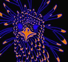 Secretary Bird Blue and Orange Print by KennedyAnne