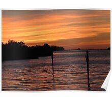 Marina at dusk Poster
