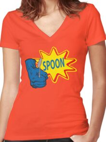 The Tick SPOON! Women's Fitted V-Neck T-Shirt