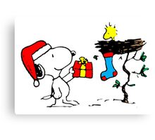Snoopy and Woodstock Xmas Canvas Print