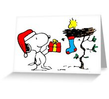 Snoopy and Woodstock Xmas Greeting Card