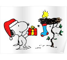 Snoopy and Woodstock Xmas Poster