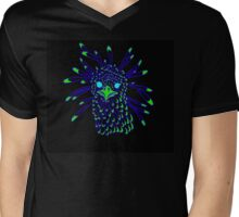 Secretary Bird Blue and Green Print Mens V-Neck T-Shirt
