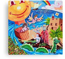 'In a Balloon over Enchanted Isle' Canvas Print