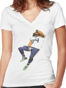 Marshawn Lynch Deez Nuts Women's Fitted V-Neck T-Shirt