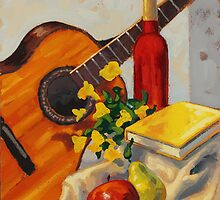 Still Life with Red Bottle by Eric Westbrook by Terry  Berman