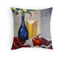 Still Life with Blue Bottle by Eric Westbrook Throw Pillow