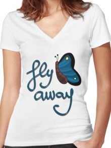 Fly away butterfly Women's Fitted V-Neck T-Shirt