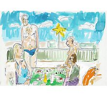 Two Couples at a Rooftop Luncheon in Malé Photographic Print