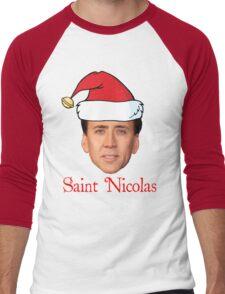 Saint Nicolas Cage Christmas  Men's Baseball ¾ T-Shirt