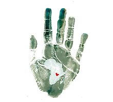 Teal Handprint Photographic Print