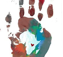 Red and Blue Handprint by The Street Child Project