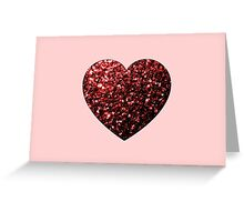 Red Glitter sparkles Heart on light pink Greeting Card