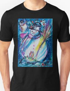 Snowman With Owl In Winter T-Shirt