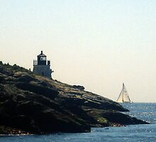 The Castle Hill Lighthouse and a Sunlit Sailboat by Jane Neill-Hancock
