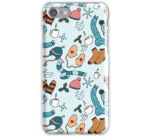 Hats and Scarves Winter Pattern iPhone Case/Skin