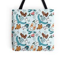 Hats and Scarves Winter Pattern Tote Bag