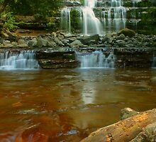 Liffey Falls with toffee & log by Michael Matthews