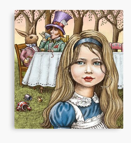 Alice and the mad tea party Canvas Print
