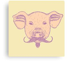 Cute Vintage Sketch Mustache Pig Canvas Print