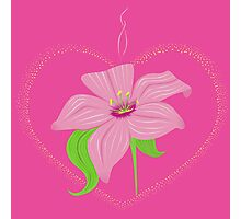 luminous heart with lily Photographic Print