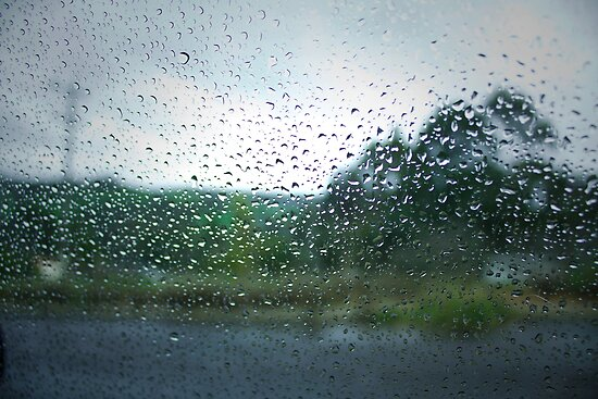Raindrops on my Windscreen by Elaine Teague