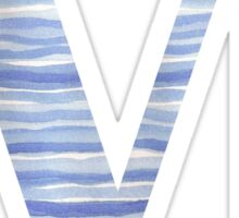 Letter M Blue Watercolor Stripes Monogram Initial Sticker