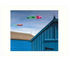 Windsocks and Beach huts Art Print