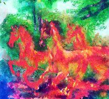wilde Pferde by Roland Richter