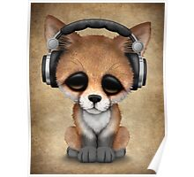 Cute Red Fox Cub Dj Wearing Headphones  Poster