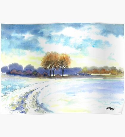 WINTER LANDSCAPE - AQUAREL Poster