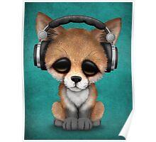 Cute Red Fox Cub Dj Wearing Headphones on Blue Poster