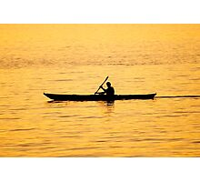 Male Silhouette Paddling A Kayak at Sunset Photographic Print