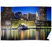 Boston Harbor by night Poster