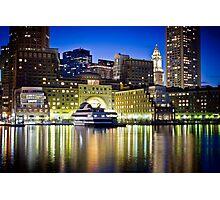Boston Harbor by night Photographic Print