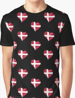 Danish Flag - Denmark - Heart Graphic T-Shirt
