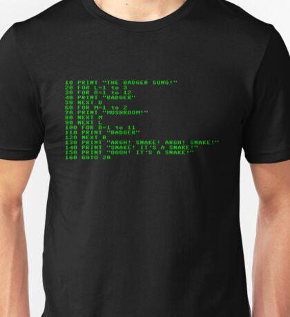 Badger Ad Infinitum - Green on Black Terminal Unisex T-Shirt