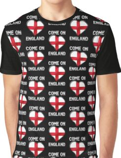 Come On England - English Flag Heart & Text - Metallic Graphic T-Shirt