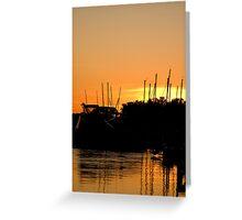 Boat Marina Reflections at Sunset Greeting Card