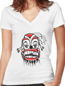 Dark Clown Drawing Women's Fitted V-Neck T-Shirt