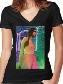 Cherry Walking Women's Fitted V-Neck T-Shirt