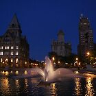 Reflections - City Fountain at Night by Elizabeth Carpenter