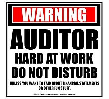 Warning Auditor Hard At Work Do Not Disturb Photographic Print
