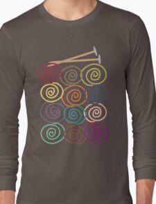 Colorful yarn balls with knitting needles Long Sleeve T-Shirt