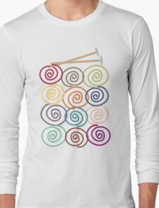 Colorful yarn balls with knitting needles Long Sleeve T-Shirt