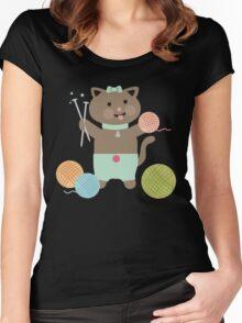 Cute kawaii kitty cat knitting needles yarn Women's Fitted Scoop T-Shirt